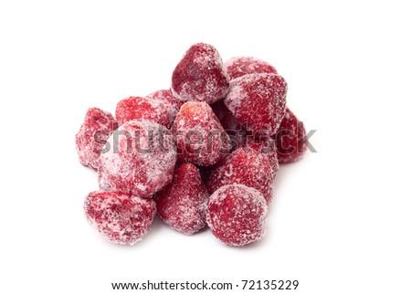 Frozen strawberries on a white background - stock photo