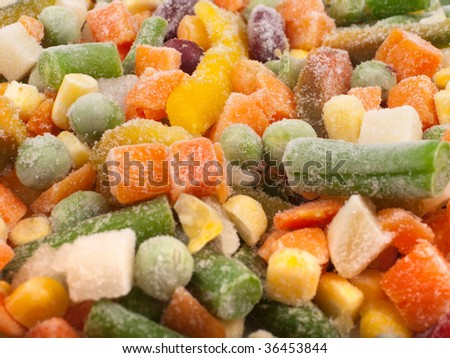 Frozen various vegetables as background - stock photo