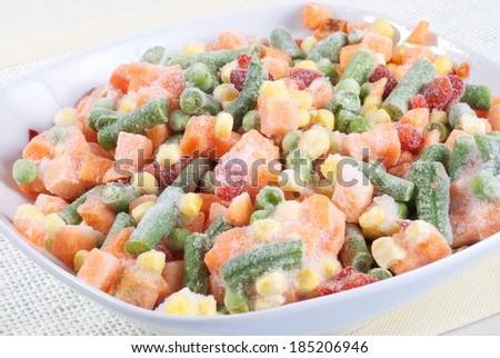 Frozen vegetables in a bowl - stock photo