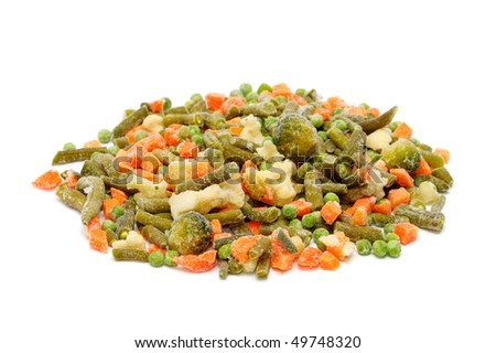 frozen vegetables isolated on a white background - stock photo