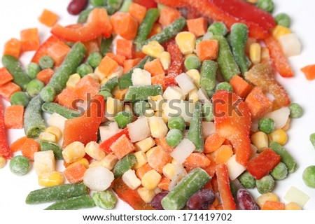Frozen vegetables isolated on white in studio - stock photo