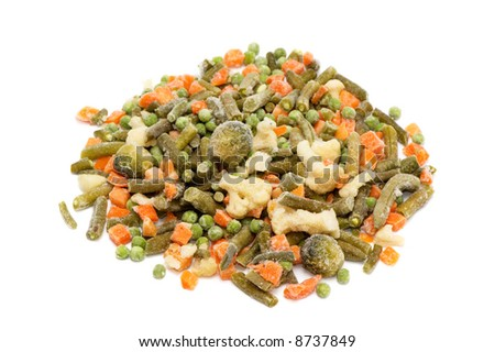 frozen vegetables on a white background - stock photo