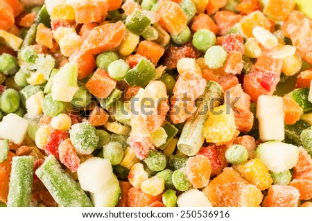 Frozen vegetables: peas, green beans, corn, carrots, peppers. For background - stock photo
