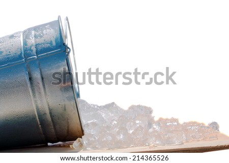Frozen Water AKA Ice in Cube Form spills out of a steel Ice Bucket. Isolated on white with room for your text. Ice is an important part of any modern society and has many uses around the world.  - stock photo