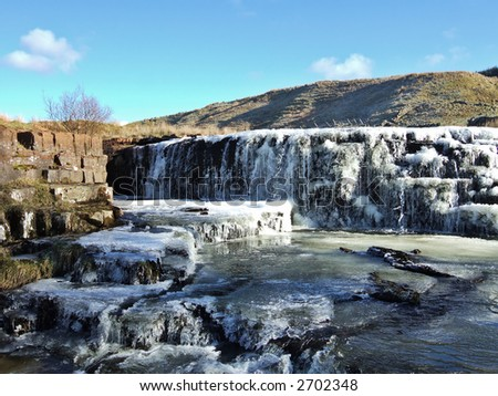 Frozen waterfall in the Yorkshire Dales - stock photo