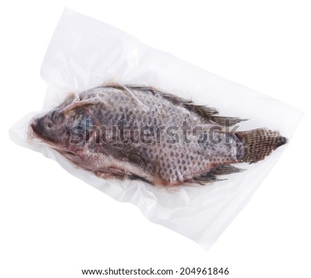 Frozen Whole Fish In A Vacuum Package - stock photo