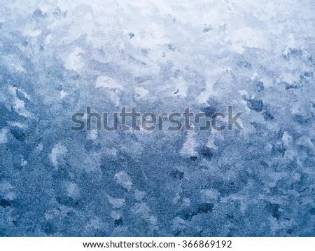 Frozen window, ice texture and background. Ice on window. - stock photo