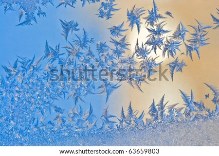 Frozen window patterns - stock photo