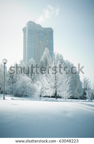 frozen world , selective focus - stock photo