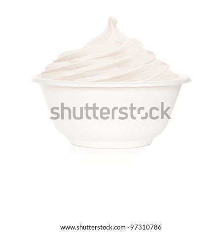 Frozen Yogurt plain big cup - stock photo