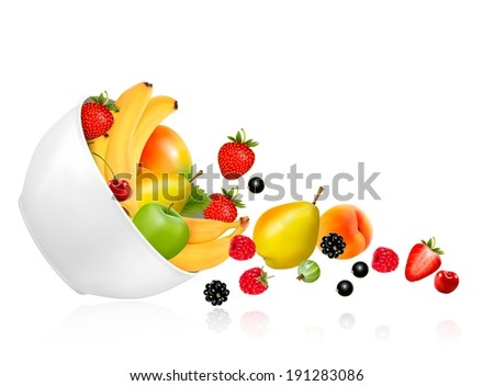 Fruit and berries falling from a bowl. Concept of healthy eating. Raster version