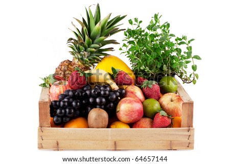 fruit and herbal in wooden box isolated on white - stock photo