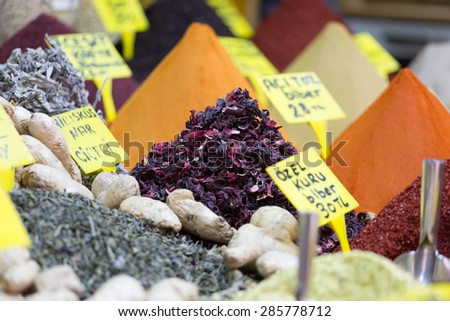 Fruit and herbal tea and various spices on the Grand Bazar in Istanbul - stock photo