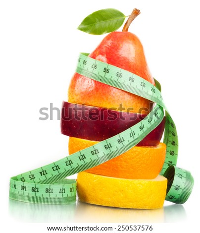 Fruit and measurement. - stock photo
