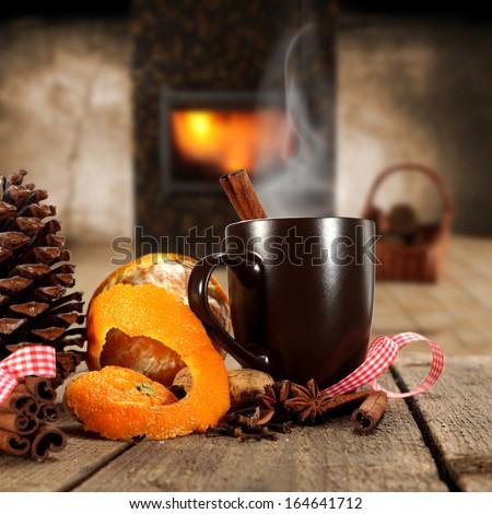 fruit and mug  - stock photo