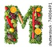 Fruit and vegetable alphabet - letter M - stock photo