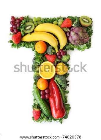 Fruit and vegetable alphabet - letter T