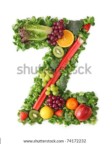 Fruit and vegetable alphabet - letter Z
