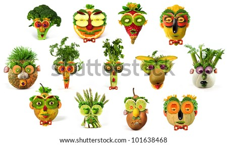 Fruit Vegetable Faces Collection Stock Photo 101638468 - Shutterstock