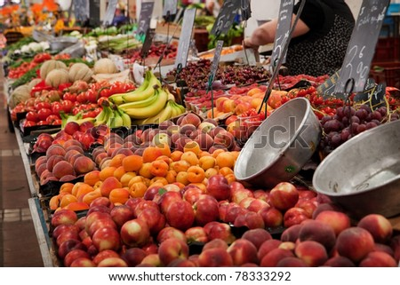 fruit and vegetable for sale on market - stock photo