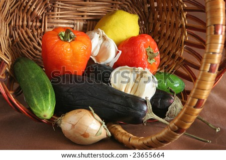 fruit and vegetable in wicker basket