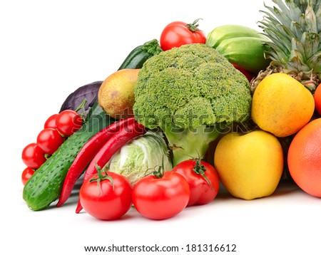 fruit and vegetable isolated on white background                                     - stock photo
