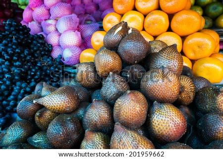 fruit and vegetable market in Senggigi, Lombok, Indonesia  - stock photo