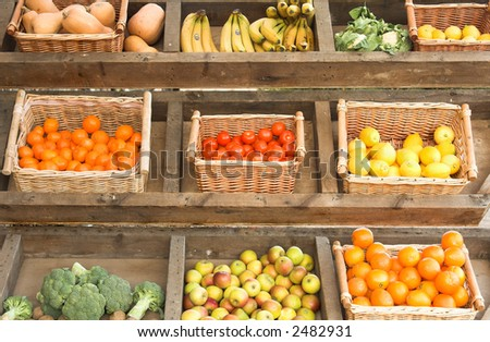 fruit and vegetables at farmers market - stock photo