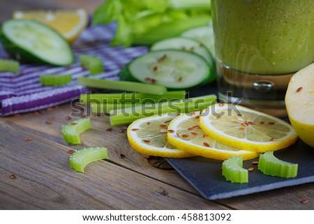 Fruit and vegetables smoothie. Healthy breakfast.