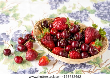 fruit basket with strawberries and cherries