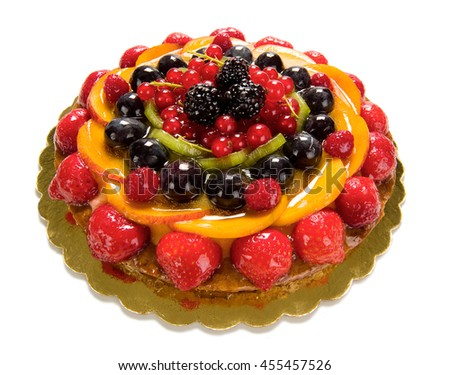 fruit cake with strawberries, peaches, raspberries and other fruits
