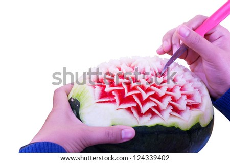 Fruit carving. - stock photo