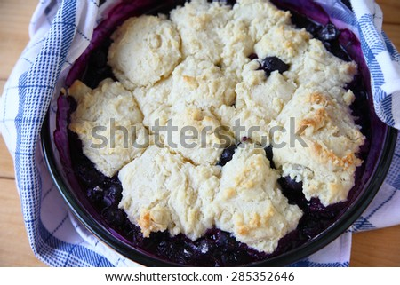 Fruit cobbler dessert just out of the oven - stock photo