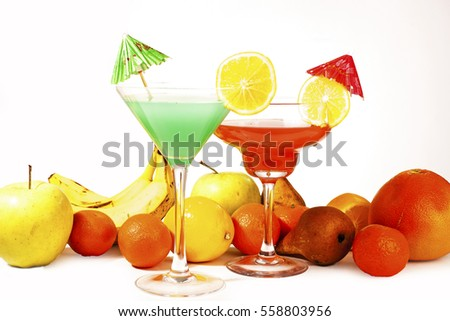 Fruit cocktail. Beautiful colorful cocktail concept. Studio photo illustration.