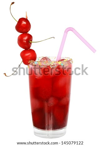 Fruit cocktail with cherry and ice cubes in a glass decorated with multicolored coconut on white background. - stock photo