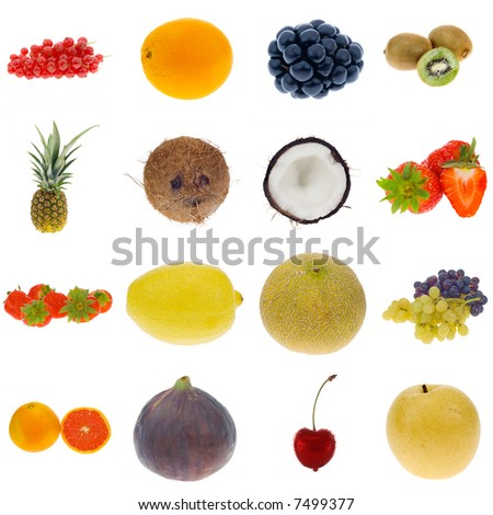 fruit collection isolated on a white background, all pieces individually photographed in studio and no shade so its easy to select. - stock photo