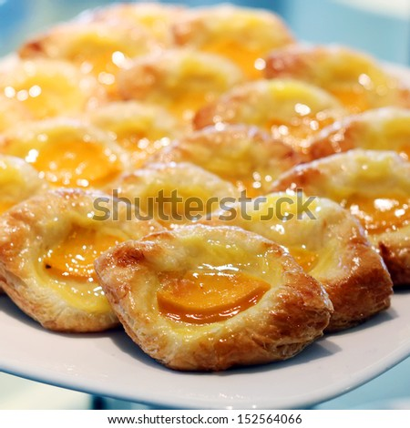 fruit danish desserts on buffet line - stock photo