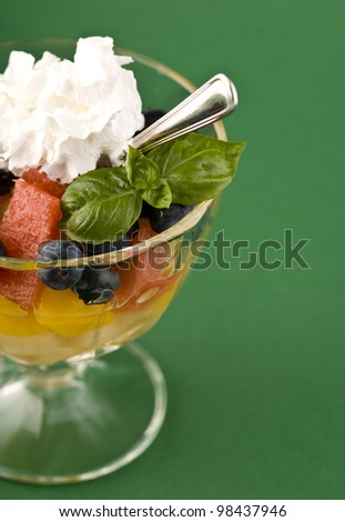 Fruit dessert in the glass cup