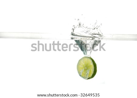 Fruit dropping into water
