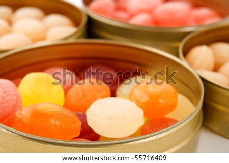 fruit drops in boxes. selected focus. - stock photo