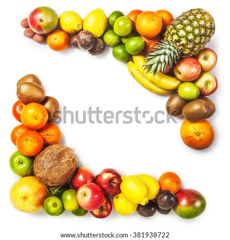 Fruit frame isolated on white background. Healthy eating and dieting concept. Winter assortment. Design element. Top view - stock photo