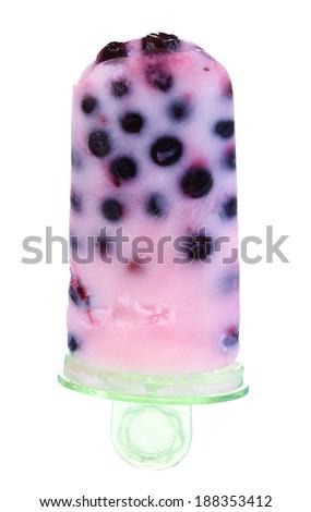 Fruit ice cream isolated on white - stock photo