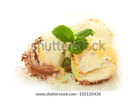 fruit  ice cream with coconut crumb over white - stock photo
