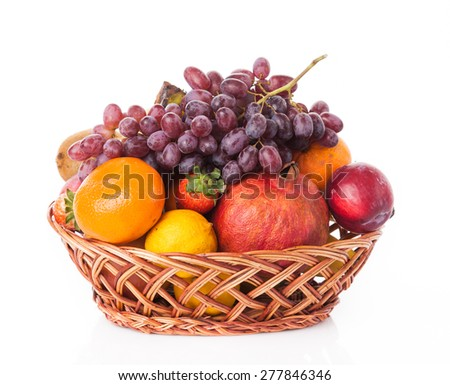 fruit in basket isolated on white background - stock photo