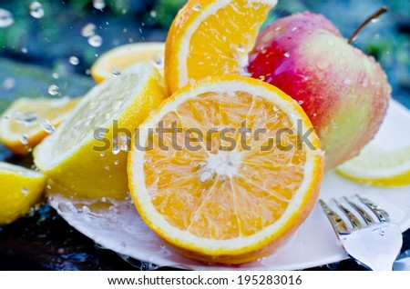 fruit in water drops