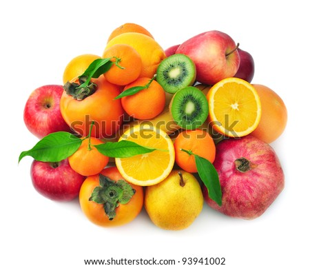 fruit isolated on a white background - stock photo