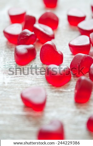 Fruit jellies candy hearts