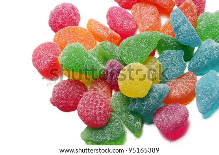 fruit jelly candies, on white background
