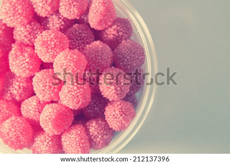 fruit jelly candies - vintage color - stock photo