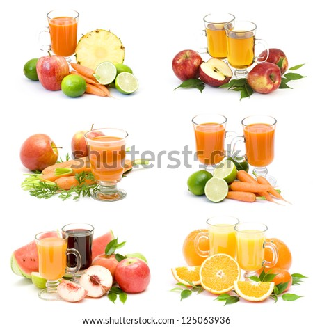fruit juice and fresh fruits - collage - stock photo
